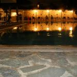 pool and bar area at night