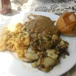 hamburger steak with gravy, 2 sides