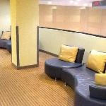 Sitting areas outside of elevator on each floor