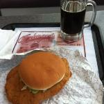Pork tenderloin sandwich and home made root beer