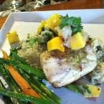 Seard Red Snapper with Basmati Basil Rice, Mango, Lime and Cilantro from the Kitchen Garden