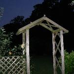 Archway in garden at night