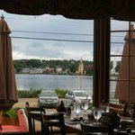 View from restaurant overlooking Mahone Bay harbour