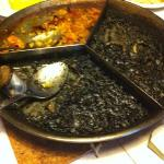  arroz negro y con setas y gambas