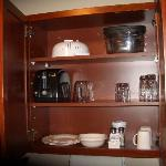a well-stocked kitchenette