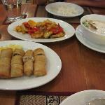 Dinner frmo left ; Spring rolls, Fried fish in sweet & sour sauce and Chicken in milk sauce