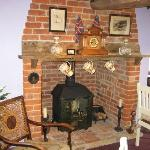 Breakfast room fireplace