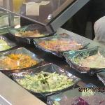 The fresh organic vegetable salad bar with daily different varieties