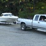 Gary unloaded my boat from his tractor in the main parking lot for my ease of hookup