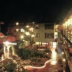  Surfside Motel courtyard at night.
