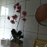 sad, old, dirty plastic orchid in the dated bathroom