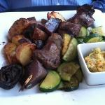  Beef Brochettes roasted shallots potatoes &amp; bearnaise