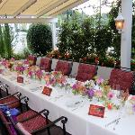 Beautiful table setting on the terrace
