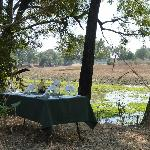 Dining in style -this is in the middle of the middle of the African bush!