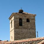 The stork nest on top of the church