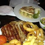 T bone for me and chicken in port and Stilton for the better half
