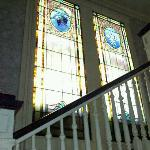 stained glass windows going upstairs