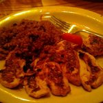  chix tenders grilled with brown rice and mushrooms