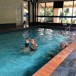 indoor heated pool is nice and warm this is swimming in winter!