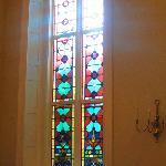 Stained glass inside.