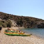  Beached at a secluded beach at Kimolos island, next to Milos