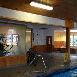 A separate exercise room overlooks the pool