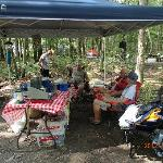 our kitchen setup--lots of trees on the campgrounds for shade