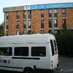  picture of building and our bus