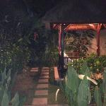  night view of day bed and garden