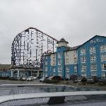  View of the pleasure beach rides from the hotel