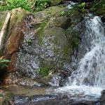 The waterfall behind the lodge