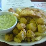 Lima beans Cod I believe with Scallops and French Fries.