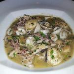  mixed seafood plate with butter and garlic sauce