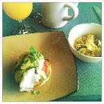 Eggs benedict with sliced tomato and basil from the garden , Tony's Chicken fried rice