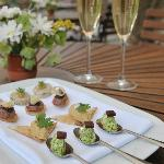  Champagne and canapes on the terrace