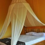 huge bed with mosquito net