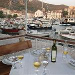 View of Hvar harbor from the terrace. a most memorable experience