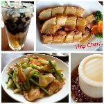  from top left: black gulaman drink, lechon macau (my favorite!), chopsuey &amp; chilled taho with sa