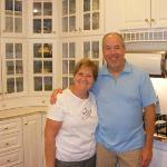  Our friendly, humorous, and talented innkeepers, Amy and Tom Hamel, in the accessible kitchen ar