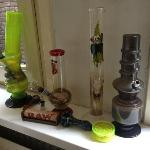 Assorted Bongs and Pipes in the room