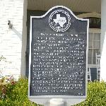 Historical marker on front lawn of Hudspeth House