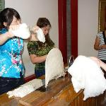 pulling the silk theads to make the comforter layers