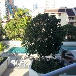  pool area from balcony spa is hidden behind the tree