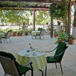 The shaded patio where guests can enjoy Nikoleta's famous breakfast