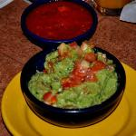 Spicy salsa roho and guacamole