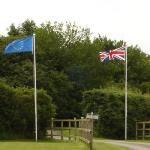 Flags at the entrance