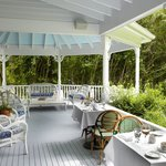 Just one of the outdoor dining areas at La Maison Blanche