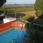  View of the pool and countryside from our balcony