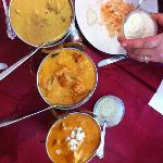  from left to right Lamb Korma, Chicken Tikka Masala, Beef Muglai Curry and The Rice