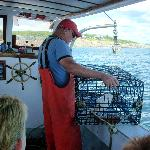  The captain pulling his trap on the lobstering cruise
